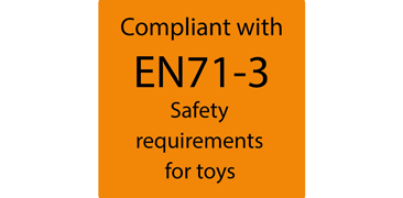 compliant with EN71-3 safety requirements for toys
